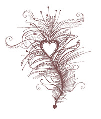 Feather Heart. Beautiful vintage accessory. Vector template.