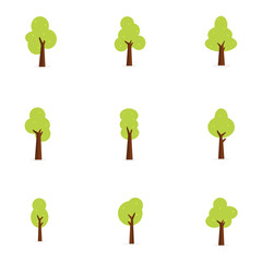 Flat trees set vector art illustration