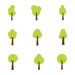 Set of trees flat vector art