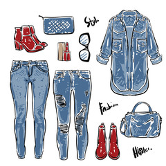 Fashion Collection of women's jeans light blue, Hand drawn vector clip art
