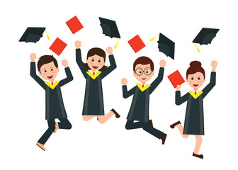 Group of happy graduates throwing graduation hats in the air cel