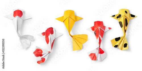 Handmade Paper Craft Origami Koi Carp Fish On White Background
