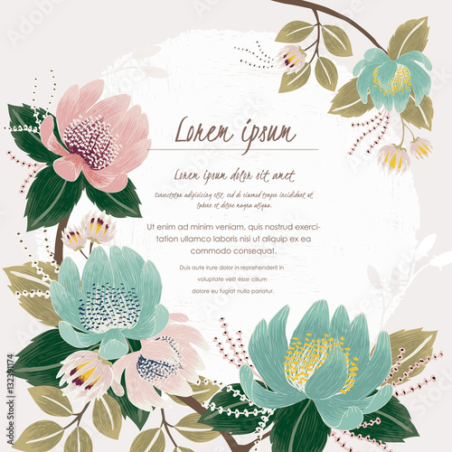 Vector illustration of a beautiful floral border with spring flowers vector illustration of a beautiful floral border with spring flowers light pink and mint flowers mightylinksfo