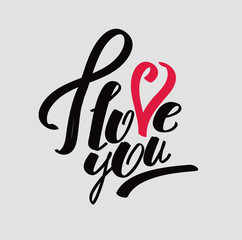 """Lettering """"I love you"""" calligraphic font"""
