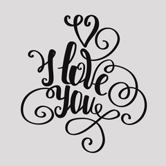 """Lettering """"I love you"""" calligraphic font, hand drawing. Individu"""