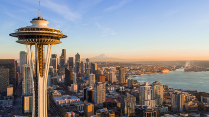 Seattle Skyline at Sunset with Space needle Wall mural