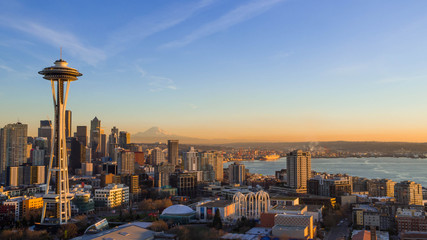 Fototapete - Seattle Skyline at Sunset with Space needle