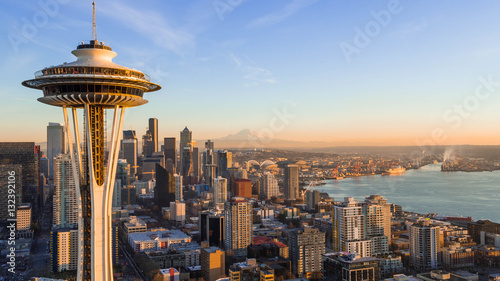 Fotomurales Seattle Skyline at Sunset with Space needle