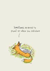 Cute cartoon fox. Vector illustration