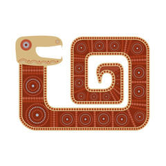 Цветное изолированное стилизованное изображение змеи в племенном стиле в красно-коричневых тонах.