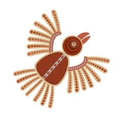 Цветное изолированное стилизованное изображение летящей птицы в племенном стиле в красно-коричневых тонах.