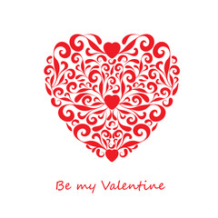 Red heart from curls and hearts on a white background. Be my Valentine. Greeting card for Valentine's Day. Vector illustration.