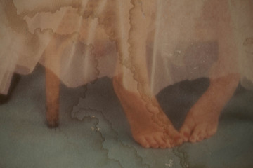 Foot woman of old image.