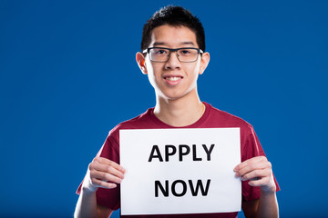 asian guy asking you to apply now