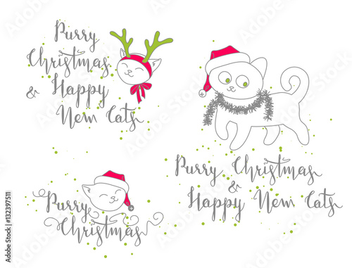 humorous christmas and new year greetings with cute kittens