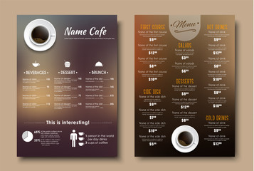 Design menus for a restaurant, cafe or coffeehouse A4.