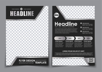 Template black A4 brochure with chrome elements Wall mural