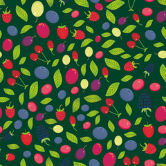 seamless pattern with Cherry Strawberry Raspberry Blackberry Blueberry Cranberry Cowberry Goji Grape on dark green background. Vector