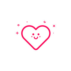 Vector illustration of pink icon in flat line style. Linear cute and happy heart. Graphic design concept of valentin day sign use in Web Project and Applications Outline isolated object.