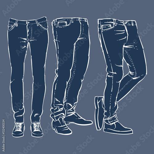 Hand drawn fashion design men 39 s jeans set vector for Fashion designer craft sets