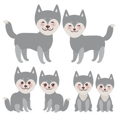Set kawaii funny gray husky dog, face with large eyes and pink cheeks, boy and girl isolated on white background. Vector