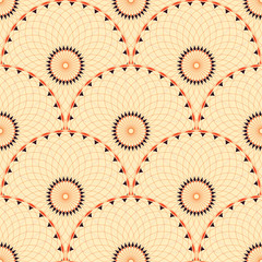 Seamless tile with rosette flowers scales in ivory and brown