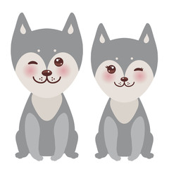 Kawaii funny gray husky dog, face with large eyes and pink cheeks, boy and girl isolated on white background. Vector