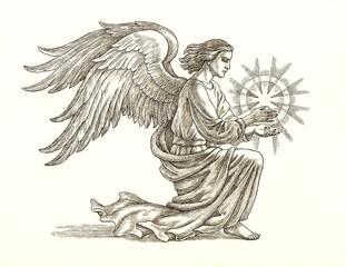 Ангел со звездой, графика. Рисунок тушью.