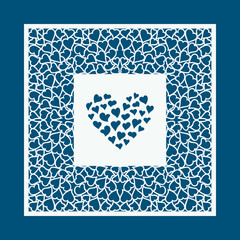 Laser cut Valentines day card with hearts. Laser cutting template for diy, greeting cards, envelopes, wedding invitations, decorative elements