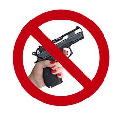 no gun symbol with hand gun and woman hand no shooting