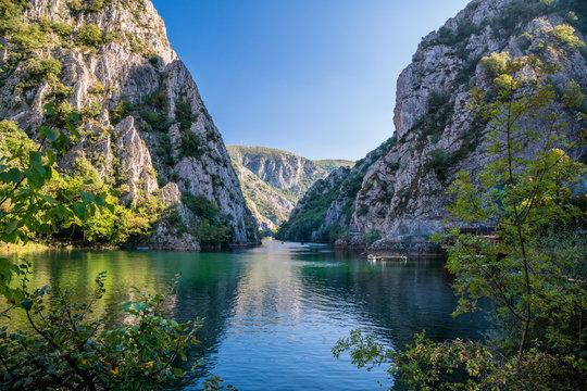 View of beautiful tourist attraction, lake at Matka Canyon in the Skopje surroundings. Macedonia.