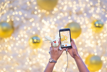 Woman's hand holding mobile phone and reindeer doll take a photo