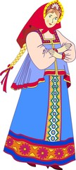 Russian girl in national costume - vector illustration