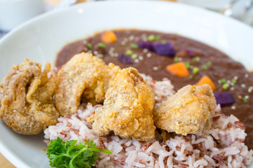 japanese food fried chicken curry