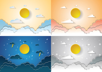 four season concept sky with sun and clouds,paper art design vec