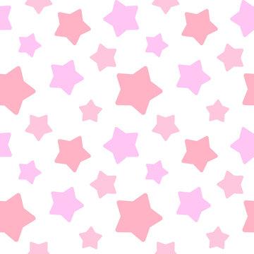 大きめランダム星柄シームレスパターン ピンク系 白背景・ベクター