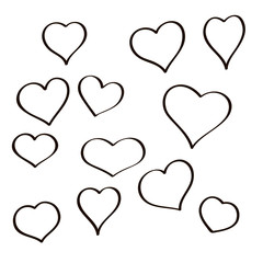 Set of hand drawn sketch hearts. Vector grunge style icons collection. Illustration the on the white background.