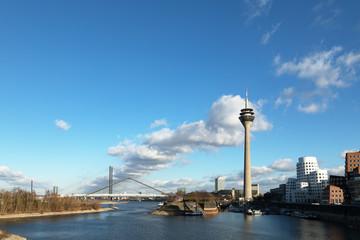 Dusseldorf Bridges River Rhine (Germany) and Rhine Tower Media Harbor
