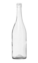 Clear Wine Bottle isolated white background clipping paths