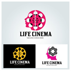 Life cinema logo design template ,Vector illustration