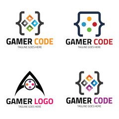 Gamer code logo design template ,Vector illustration