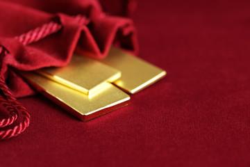 Gold Bar in Velvet Pouch