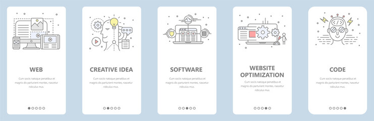 Vector thin line flat design, web development concept banners