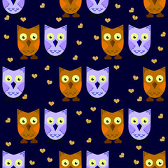 seamless pattern owls, couple, brown and gray (violet)