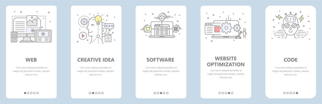 Vector thin line flat design, web development concept banners