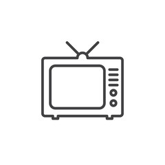 TV, television line icon, outline vector sign, linear pictogram isolated on white. Symbol, logo illustration
