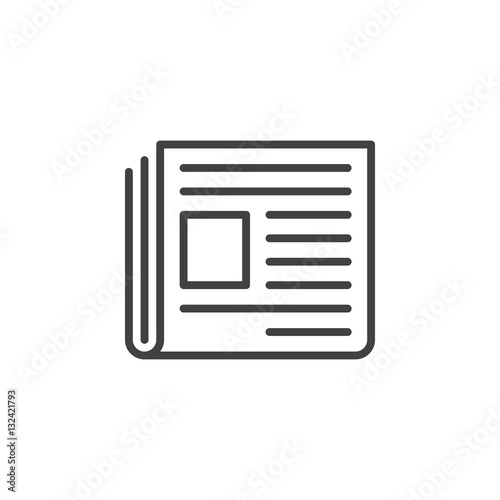 Newspaper Line Icon Outline Vector Sign Linear Pictogram Isolated On White News Symbol