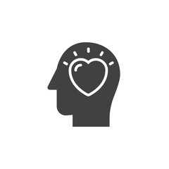 Head with heart icon vector, filled flat sign, solid pictogram isolated on white. In love symbol, logo illustration