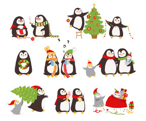 Set of merry Сhristmas Penguins. Vector illustration.