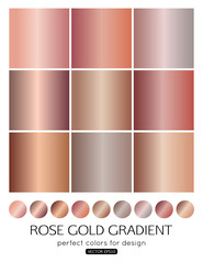 Set of rose gold gradients for fashion background, wallpaper